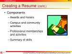 creating a resume cont