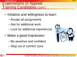 expectations of applied training candidates cont3