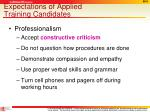 expectations of applied training candidates