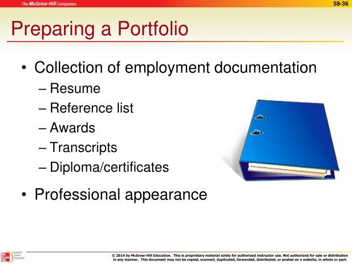 Preparing a Portfolio