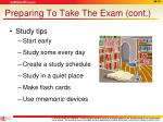 preparing to take the exam cont