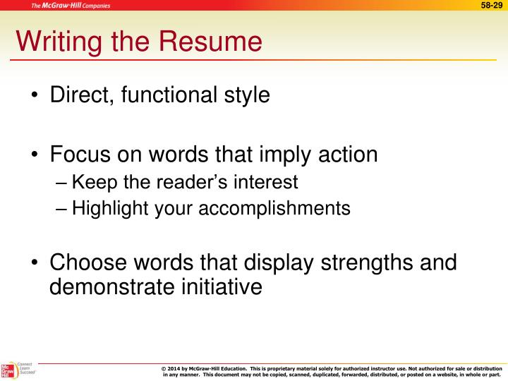 Writing the Resume