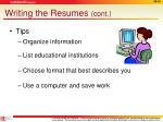 writing the resumes cont