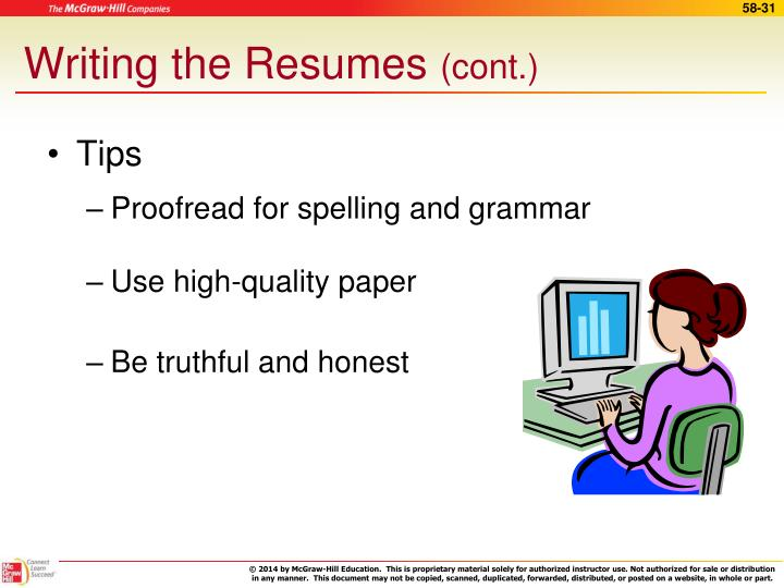 Writing the Resumes