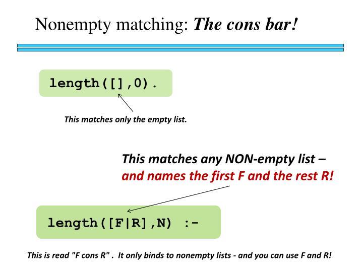 Nonempty matching:
