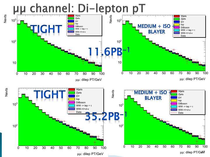 µµ channel: Di-lepton