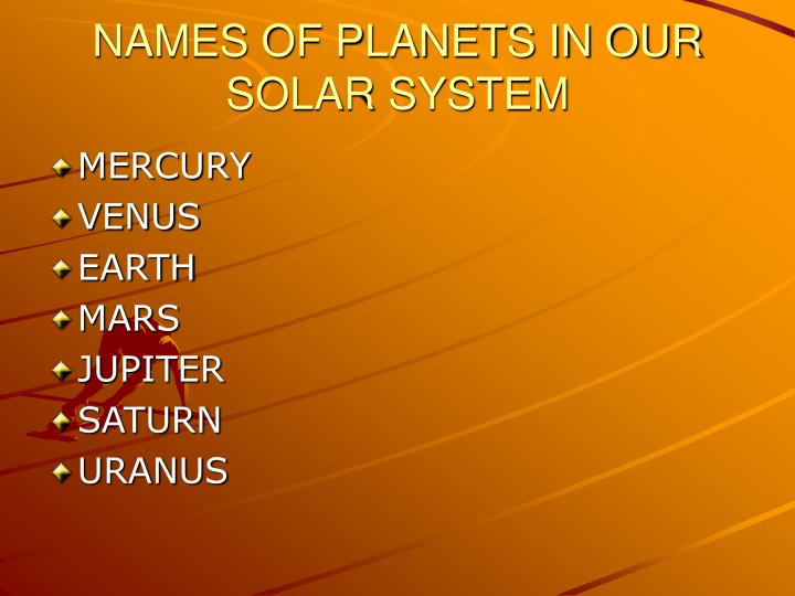 Names of planets in our solar system