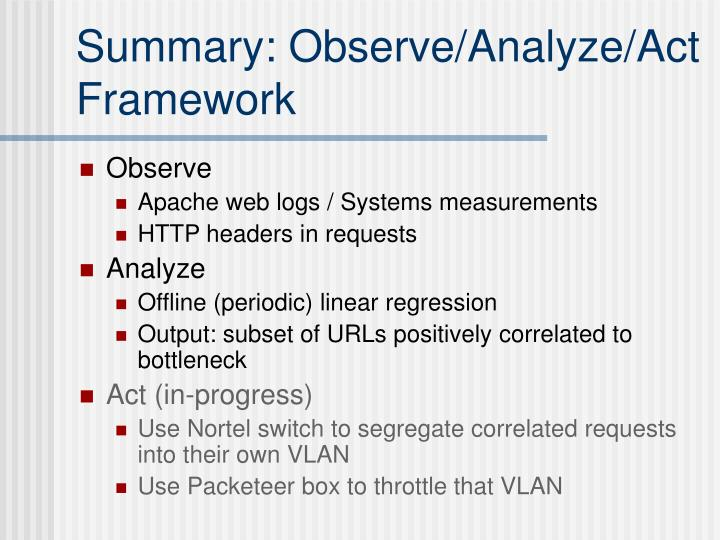 Summary: Observe/Analyze/Act Framework