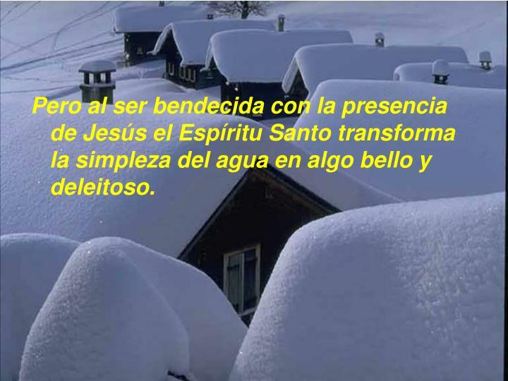 Pero al ser bendecida con la presencia de Jesús el Espíritu Santo transforma la simpleza del agua en algo bello y deleitoso.