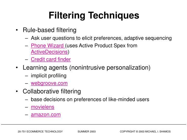 Filtering Techniques