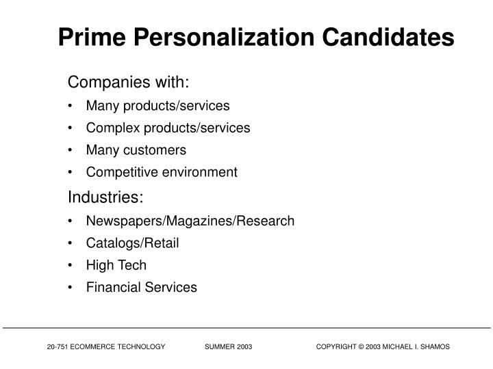 Prime Personalization Candidates