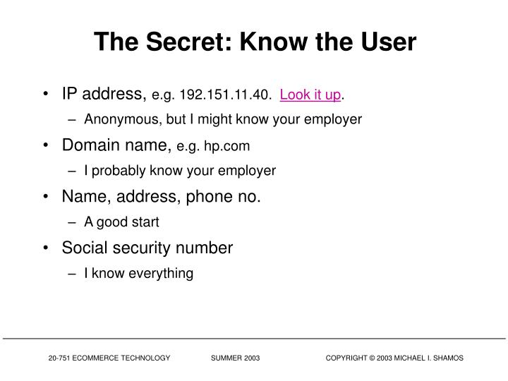 The Secret: Know the User