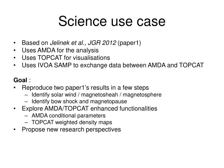 Science use case