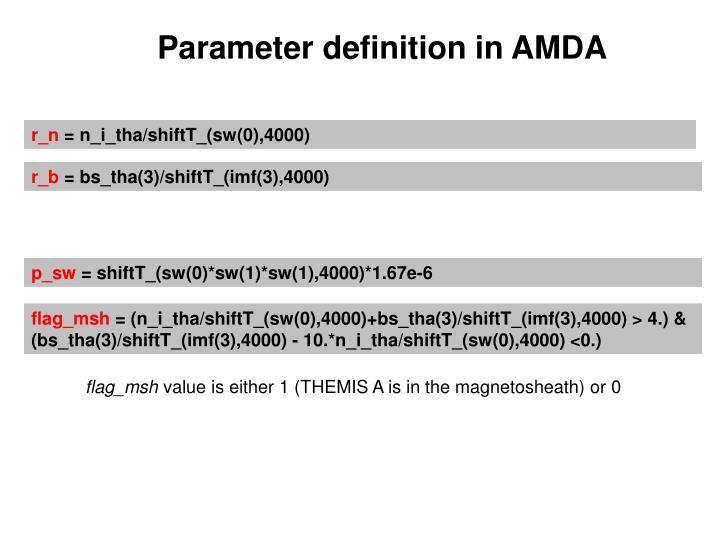 Parameter definition in AMDA