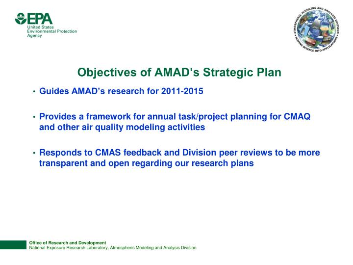 Objectives of AMAD's Strategic Plan
