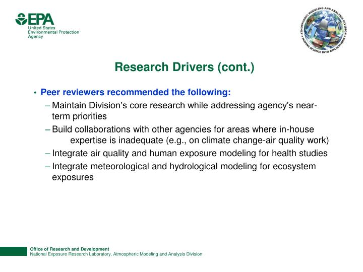 Research Drivers (cont.)