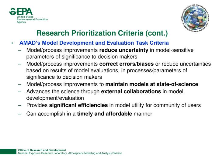 Research Prioritization Criteria (cont.)