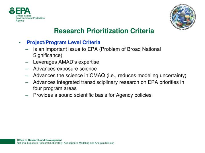 Research Prioritization Criteria