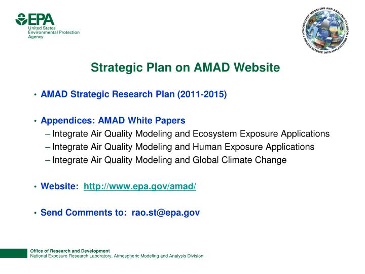 Strategic Plan on AMAD Website