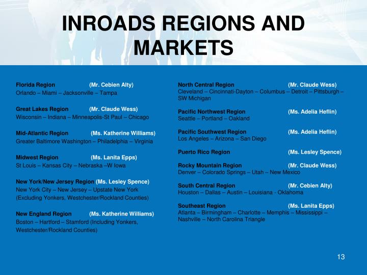 INROADS REGIONS AND MARKETS