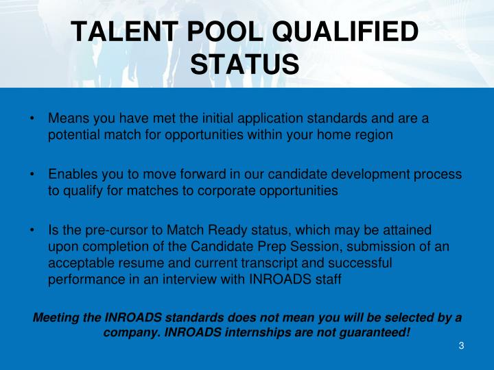 TALENT POOL QUALIFIED STATUS