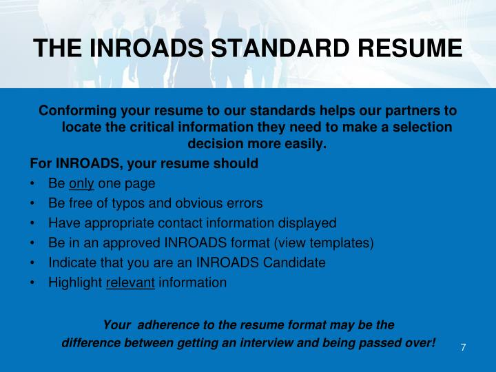THE INROADS STANDARD RESUME