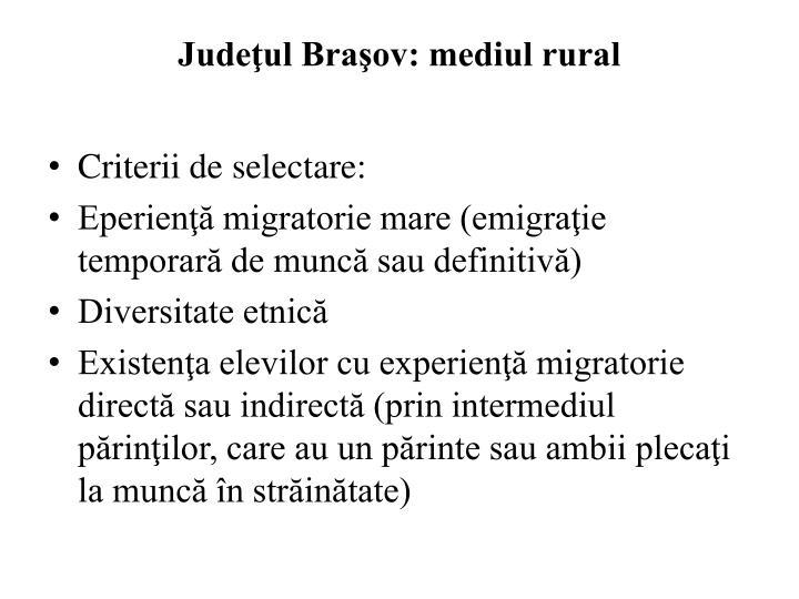 Judeţul Braşov: mediul rural