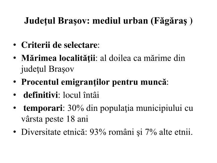 Judeţul Braşov: mediul urban (Făgăraş