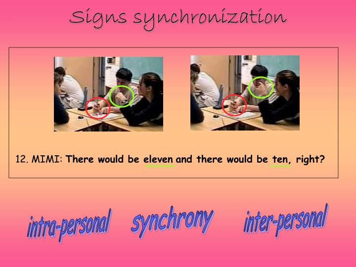 Signs synchronization