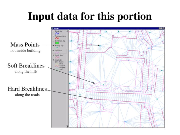 Input data for this portion
