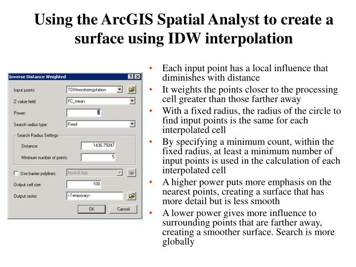 Using the ArcGIS Spatial Analyst to create a surface using IDW interpolation