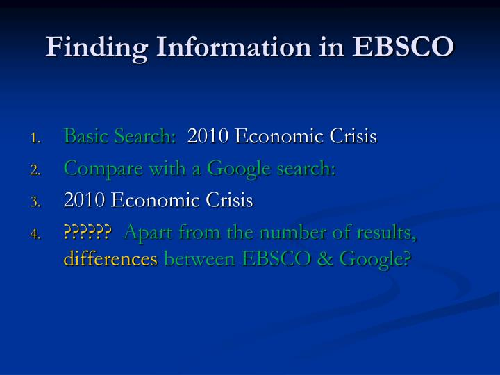 Finding Information in EBSCO