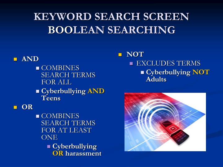 KEYWORD SEARCH SCREEN