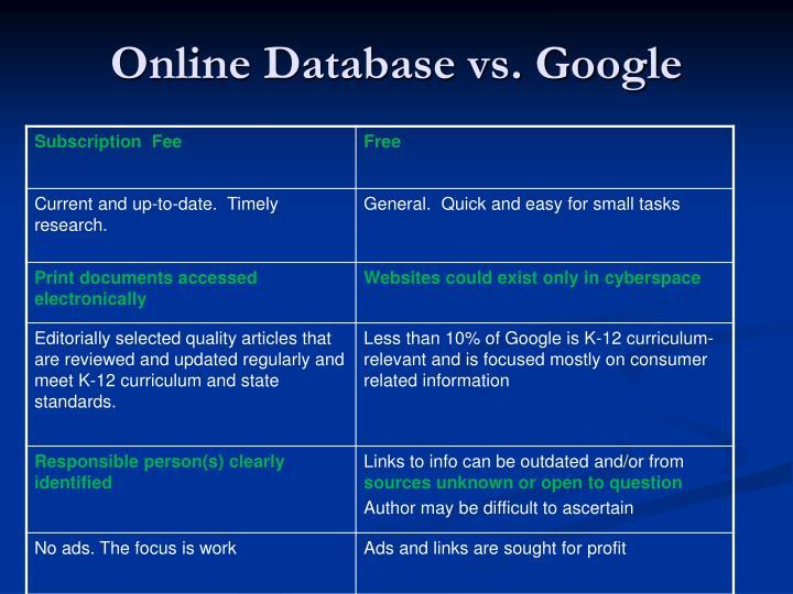 Online Database vs. Google