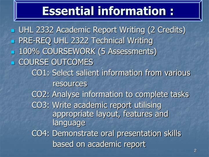 Essential information :