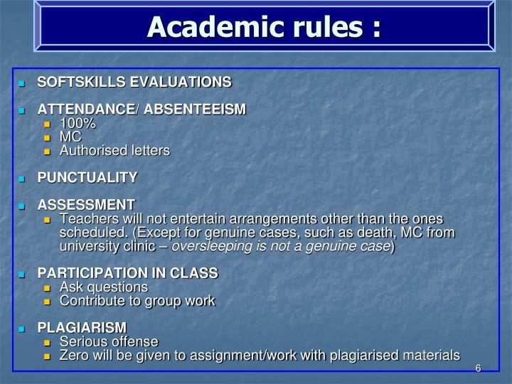 Academic rules :