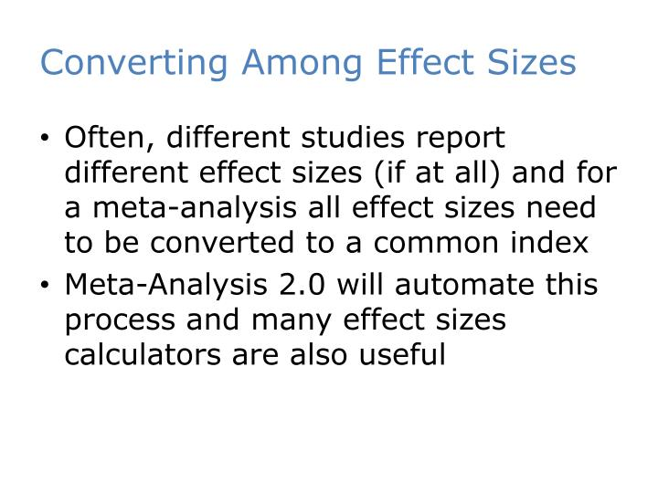 Converting Among Effect Sizes