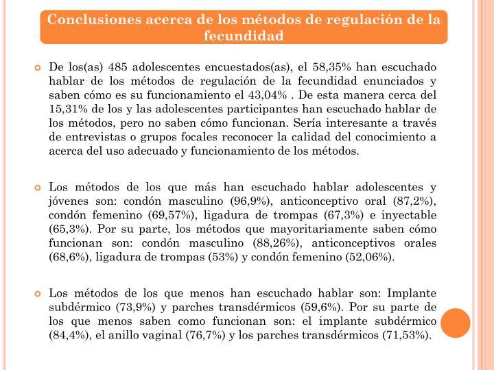 Conclusiones acerca de los métodos de regulación de la fecundidad