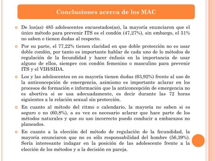 Conclusiones acerca de los MAC