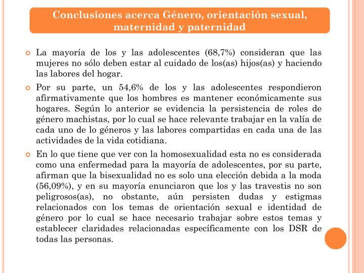 Conclusiones acerca Género, orientación sexual, maternidad y paternidad