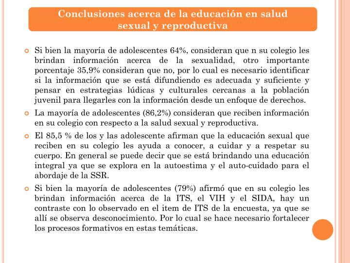 Conclusiones acerca de la educación en salud      sexual y reproductiva