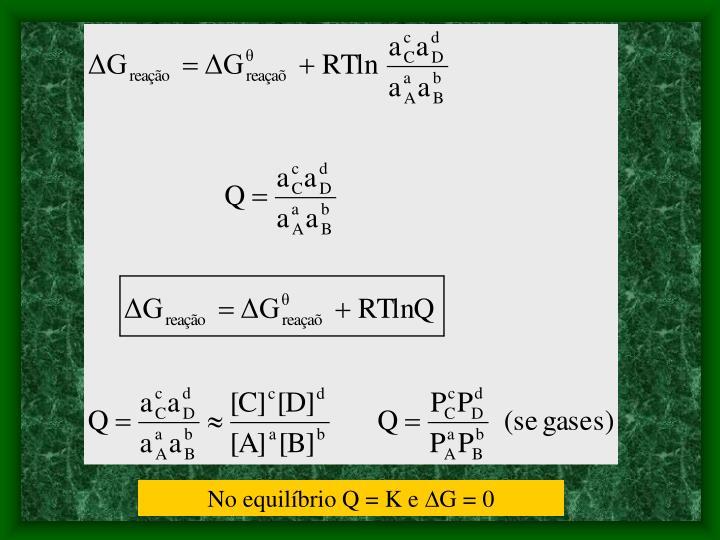 No equilíbrio Q = K e