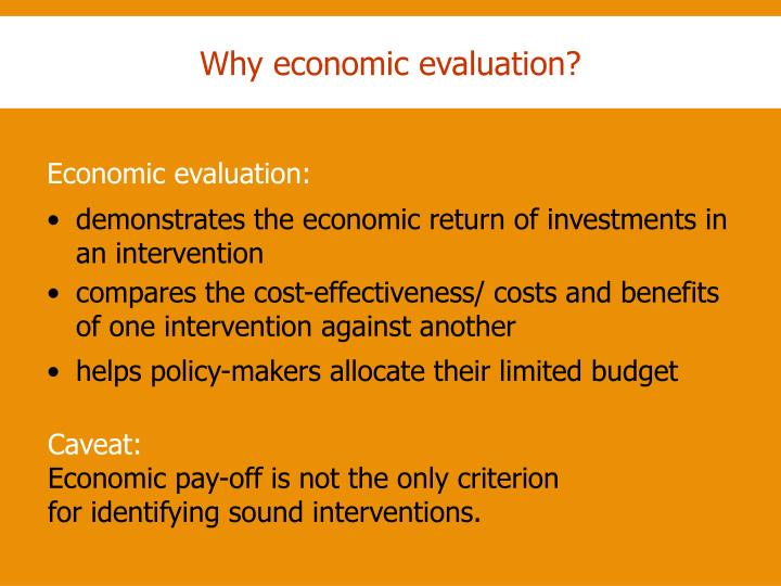 Why economic evaluation?