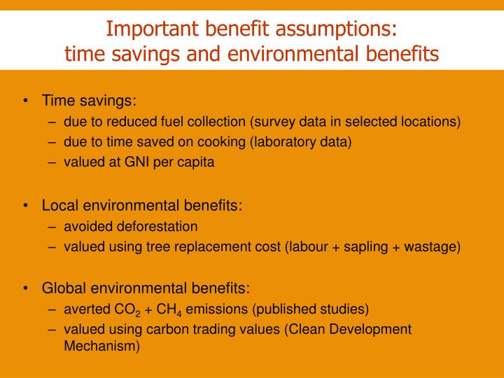 Important benefit assumptions: