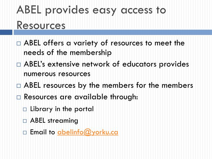 ABEL provides easy access to Resources