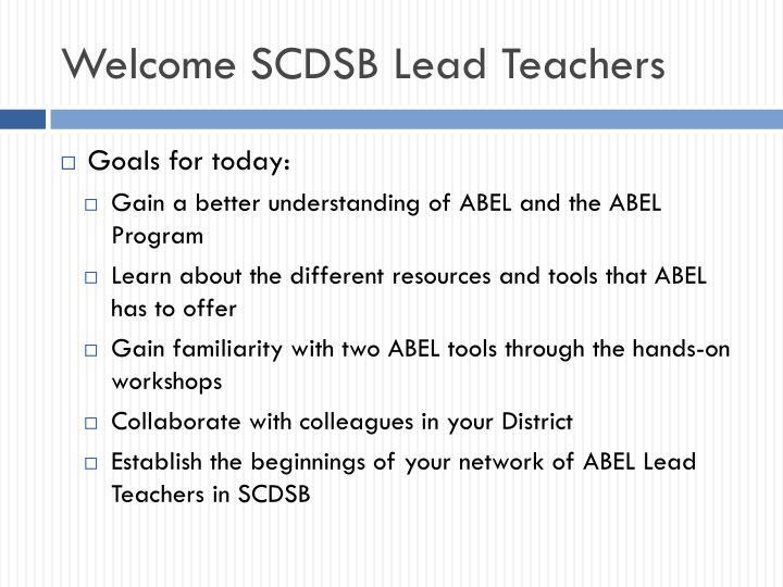 Welcome SCDSB Lead Teachers