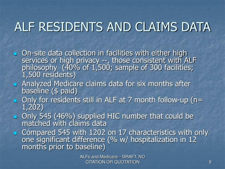 ALF RESIDENTS AND CLAIMS DATA