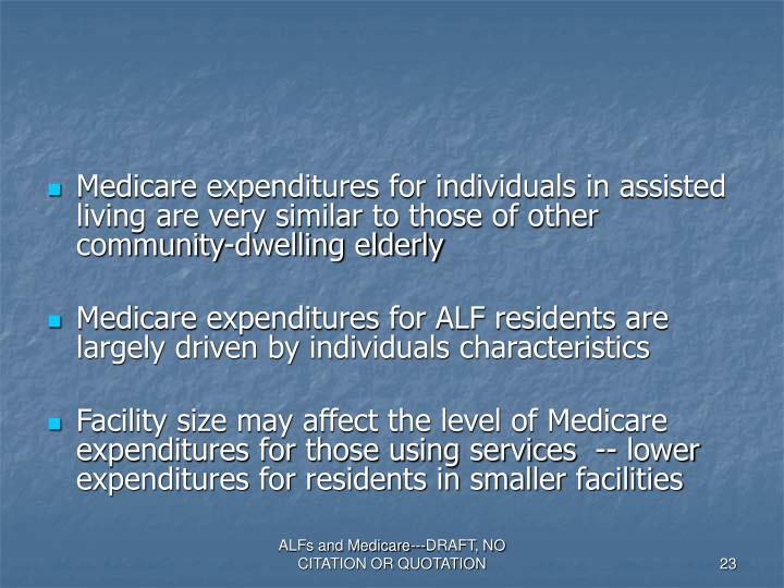 Medicare expenditures for individuals in assisted living are very similar to those of other community-dwelling elderly
