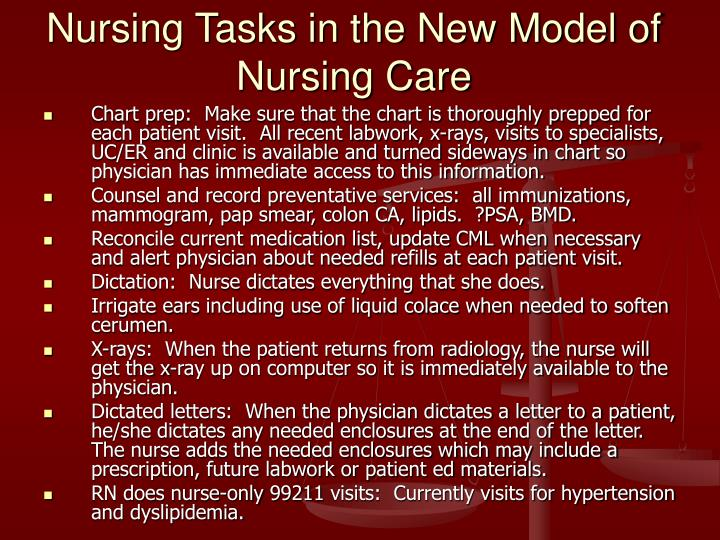 Nursing Tasks in the New Model of Nursing Care