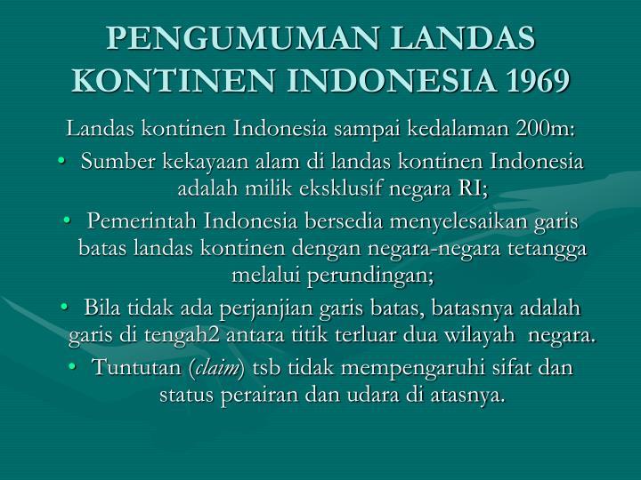 PENGUMUMAN LANDAS KONTINEN INDONESIA 1969